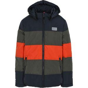 LEGO WEAR Zimná bunda  olivová / námornícka modrá / oranžová