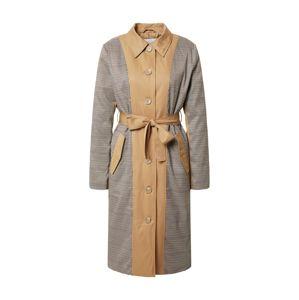 ICHI Prechodný kabát 'Felicia'  béžová / čierna / biela