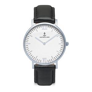 Kapten & Son Analógové hodinky 'Campina'  čierna / strieborná / biela