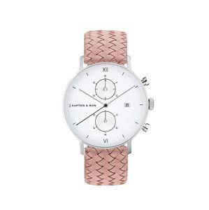 Kapten & Son Analógové hodinky 'Small Chrono Woven'  ružová / strieborná