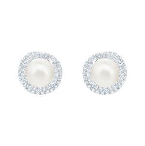 Swarovski Náušnice  perlovo biela / strieborná