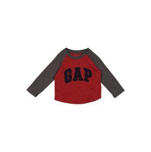 GAP Tričko 'GARCH '  sivá melírovaná / krvavo červená / čierna