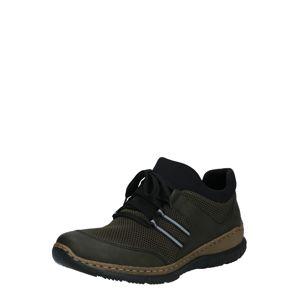 RIEKER Športové šnurovacie topánky  čierna / tmavozelená