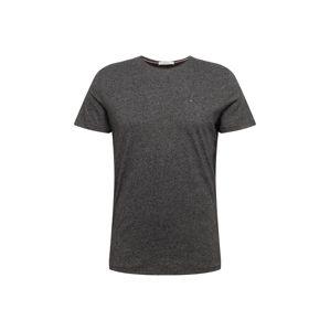 Tommy Jeans Tričko  sivá melírovaná / čierna