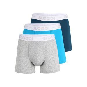SLOGGI Boxerky  sivá melírovaná / neónovo modrá / námornícka modrá