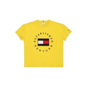 TOMMY HILFIGER Tričko 'HERITAGE'  žltá / námornícka modrá / biela / červená