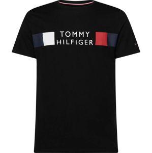 TOMMY HILFIGER Tričko  čierna / biela / modrosivá / homárová