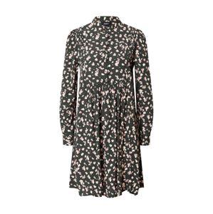 OBJECT Košeľové šaty  púdrová / tmavozelená / svetloružová