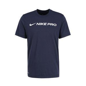NIKE Funkčné tričko  čierna / modrá