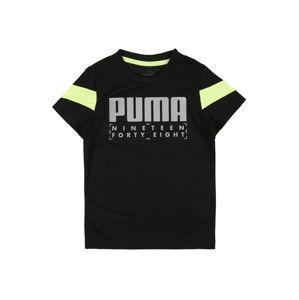 PUMA Tričko  čierna / neónovo žltá / svetlosivá