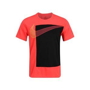 NIKE Funkčné tričko 'Superset'  čierna / neónovo červená
