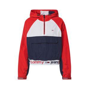 Tommy Jeans Prechodná bunda 'TJW BRANDED HEM POPOVER'  červené / biela / námornícka modrá