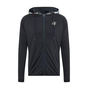 SikSilk Tepláková bunda  biela / čierna melírovaná