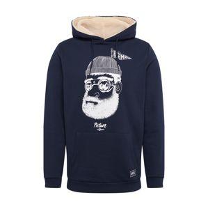 Picture Organic Clothing Športová mikina 'PINECLIFF'  tmavomodrá / biela