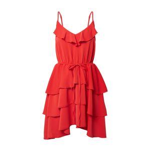 NA-KD Šaty 'Thin strap frill dress'  červené