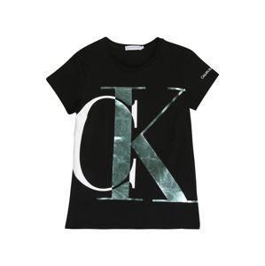 Calvin Klein Jeans Tričko  čierna / striebornosivá / biela
