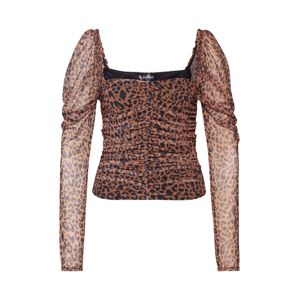 Missguided Shirt 'MESH RUCHED CORSET PUFF'  hnedé