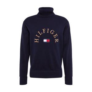 TOMMY HILFIGER Sveter 'HILFIGER FLAG ROLL NECK'  biela / červená / tmavomodrá