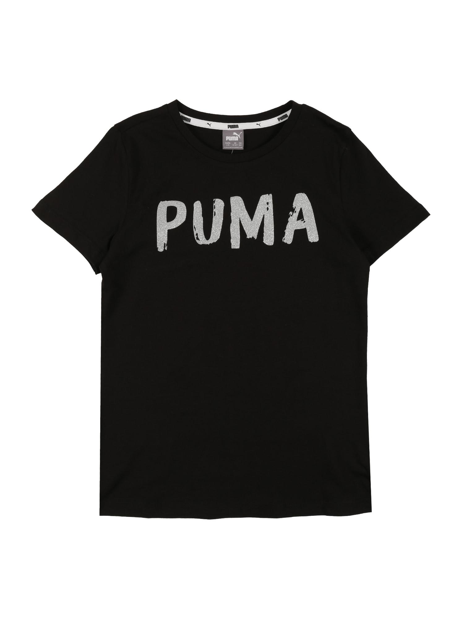 PUMA Funkčné tričko  strieborná / čierna