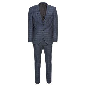 SELECTED HOMME Oblek 'Myloair Check Suit B Ex'  tmavomodrá