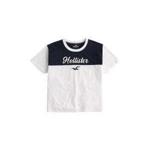 HOLLISTER Tričko 'SPORTY'  biela / námornícka modrá