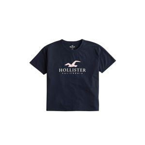 HOLLISTER Tričko 'Timeless'  biela / námornícka modrá